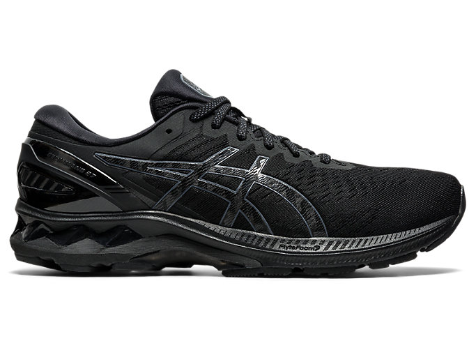 Right side view of GEL-KAYANO 27, BLACK/BLACK