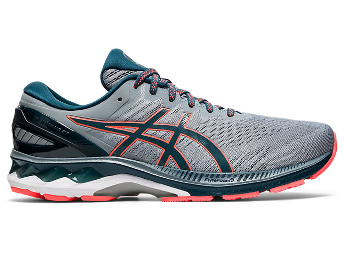 Right side view of GEL-KAYANO 27, SHEET ROCK/MAGNETIC BLUE