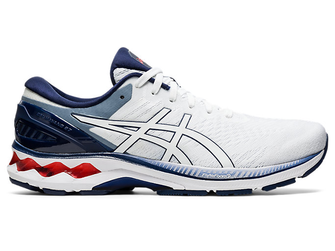 Right side view of GEL-KAYANO 27, WHITE/PEACOAT