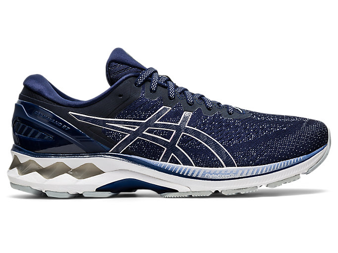 Right side view of GEL-KAYANO 27, PEACOAT/PIEDMONT GREY