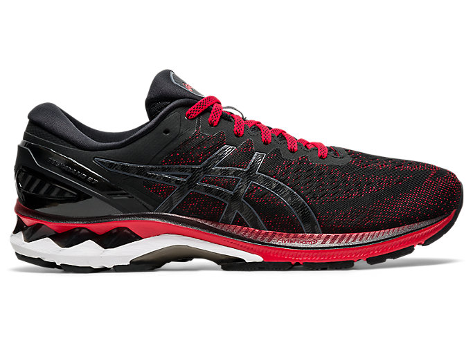 Right side view of GEL-KAYANO 27, CLASSIC RED/BLACK