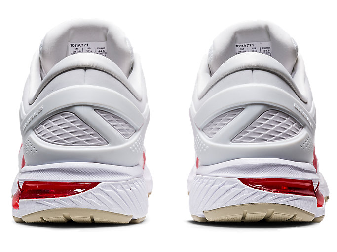 Back view of GEL-KAYANO™ 26, WHITE/CLASSIC RED