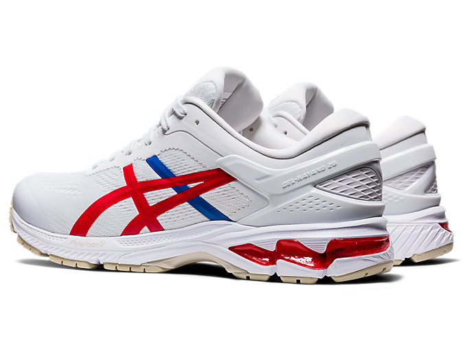 Front Left view of GEL-KAYANO™ 26, WHITE/CLASSIC RED