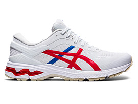 Right side view of GEL-KAYANO 26, WHITE/CLASSIC RED