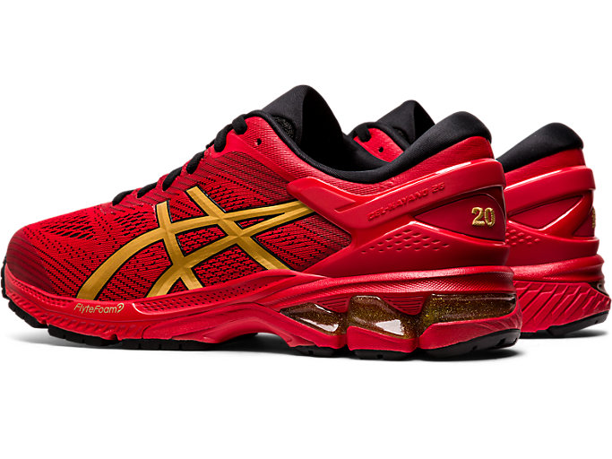 Front Left view of GEL-KAYANO 26, CLASSIC RED/PURE GOLD