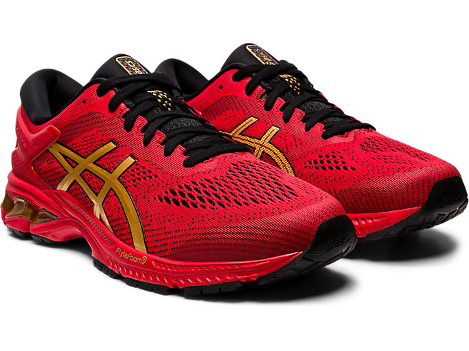 Front Right view of GEL-KAYANO 26, CLASSIC RED/PURE GOLD