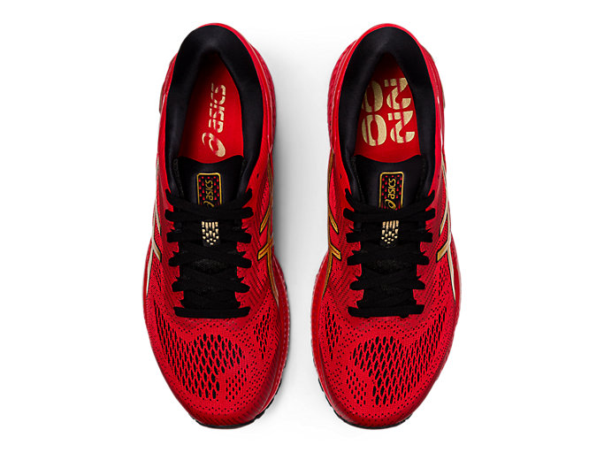 Top view of GEL-KAYANO 26, CLASSIC RED/PURE GOLD