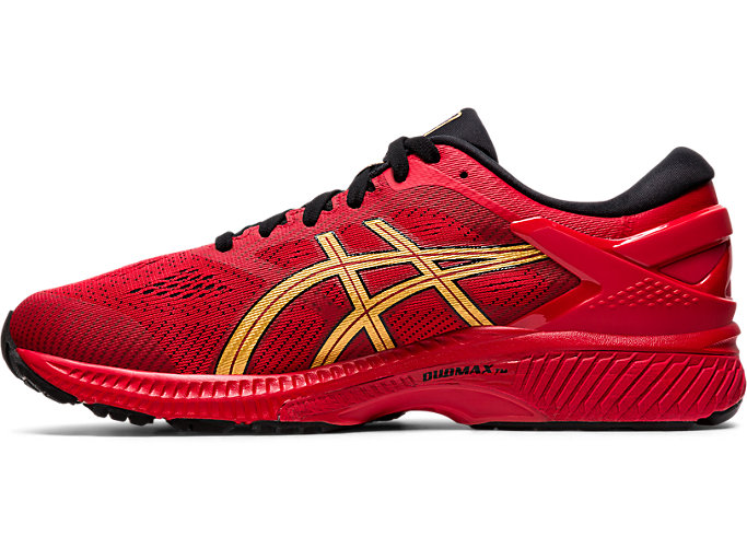 Left side view of GEL-KAYANO 26, CLASSIC RED/PURE GOLD