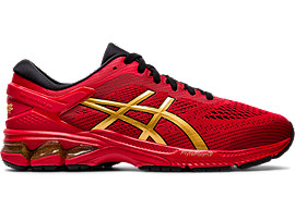 Right side view of GEL-KAYANO 26, CLASSIC RED/PURE GOLD