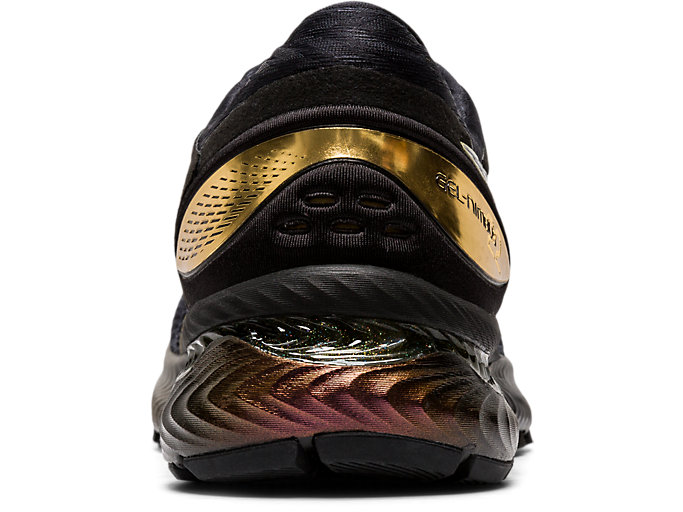 Back view of GEL-NIMBUS™ 22 PLATINUM, BLACK/PURE GOLD