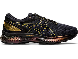 Right side view of GEL-NIMBUS 22 PLATINUM, BLACK/PURE GOLD