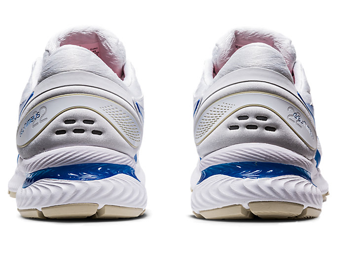 Back view of GEL-NIMBUS™ 22, WHITE/ELECTRIC BLUE