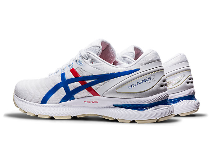 Front Left view of GEL-NIMBUS™ 22, WHITE/ELECTRIC BLUE