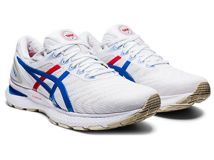 Front Right view of GEL-NIMBUS™ 22, WHITE/ELECTRIC BLUE