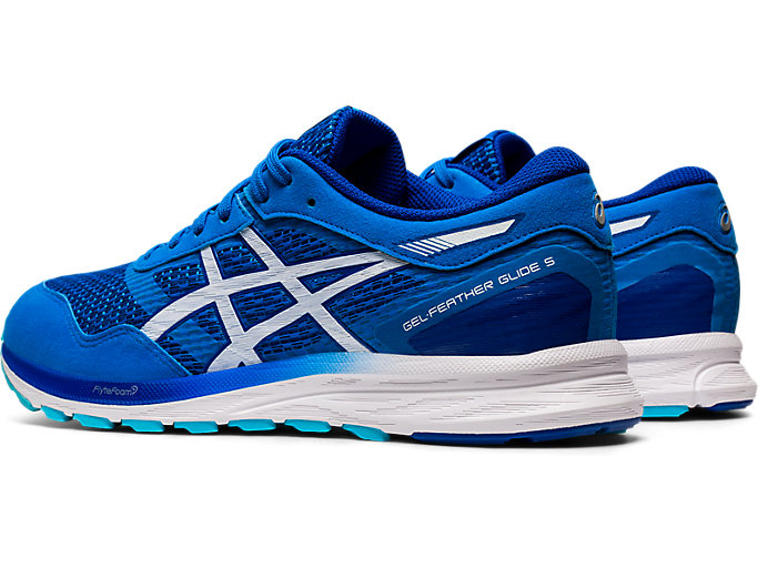 Front Left view of GEL-FEATHER GLIDE 5, ELECTRIC BLUE/WHITE
