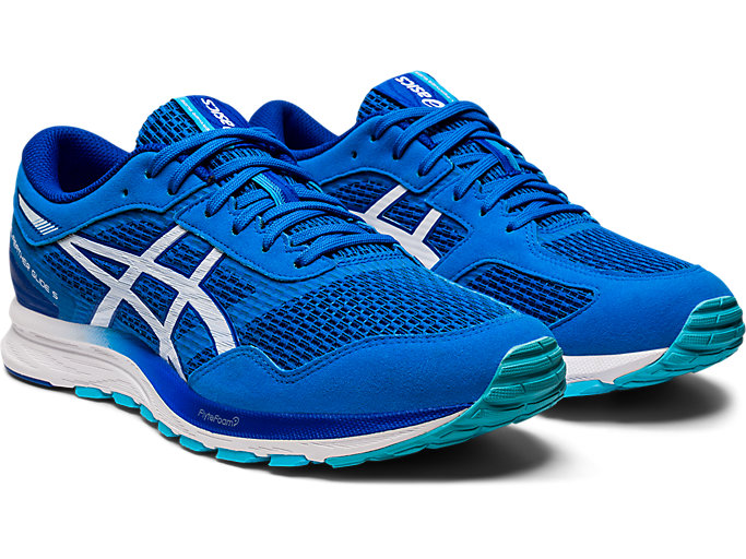 Front Right view of GEL-FEATHER GLIDE 5, ELECTRIC BLUE/WHITE