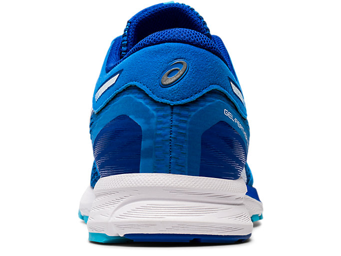 Back view of GEL-FEATHER GLIDE 5, ELECTRIC BLUE/WHITE