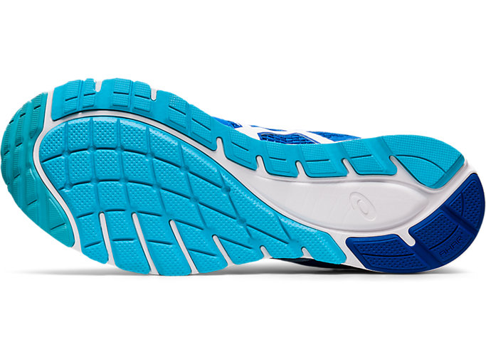 Bottom view of GEL-FEATHER GLIDE 5, ELECTRIC BLUE/WHITE