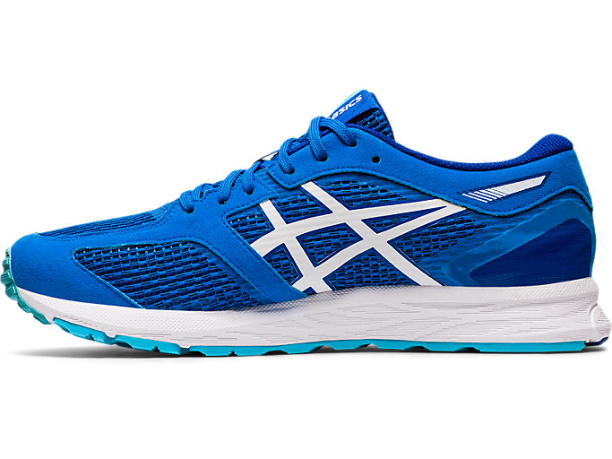 Left side view of GEL-FEATHER GLIDE 5, ELECTRIC BLUE/WHITE