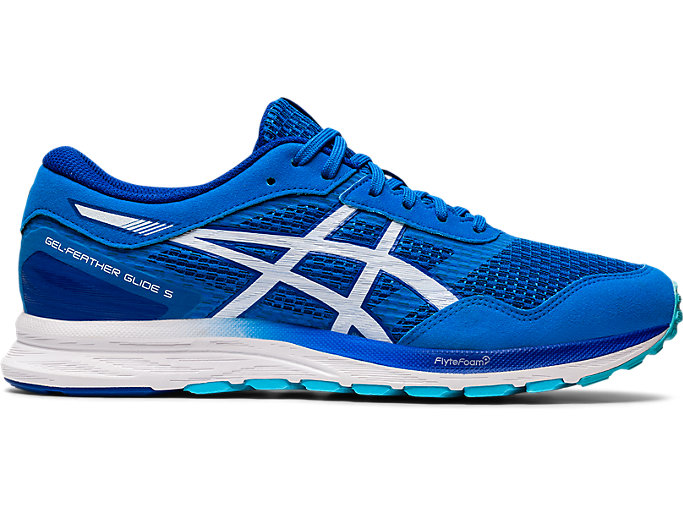 Right side view of GEL-FEATHER GLIDE 5, ELECTRIC BLUE/WHITE