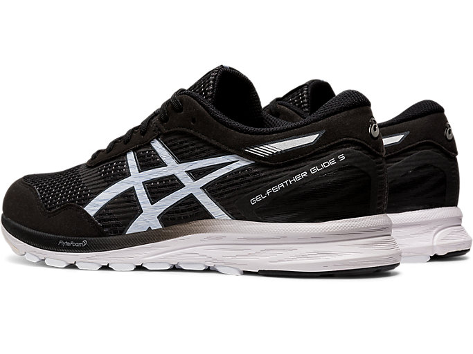 Front Left view of GEL-FEATHER GLIDE 5, BLACK/WHITE