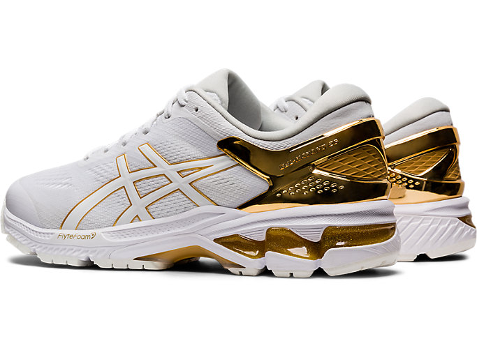 Front Left view of GEL-KAYANO™ 26 PLATINUM, WHITE/PURE GOLD