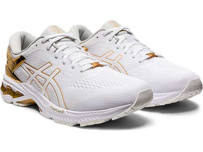 Front Right view of GEL-KAYANO™ 26 PLATINUM, WHITE/PURE GOLD
