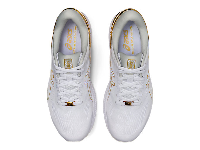 Top view of GEL-KAYANO™ 26 PLATINUM, WHITE/PURE GOLD