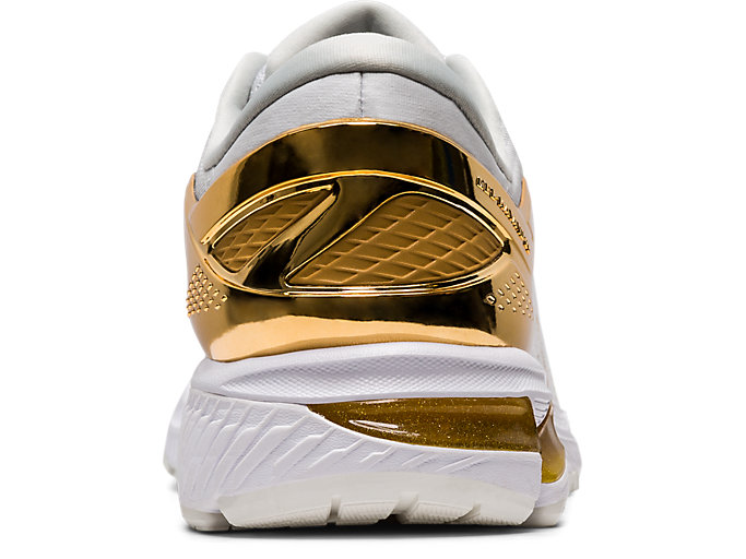 Back view of GEL-KAYANO™ 26 PLATINUM, WHITE/PURE GOLD