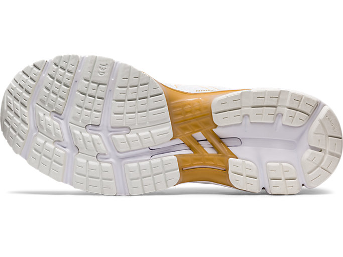 Bottom view of GEL-KAYANO™ 26 PLATINUM, WHITE/PURE GOLD
