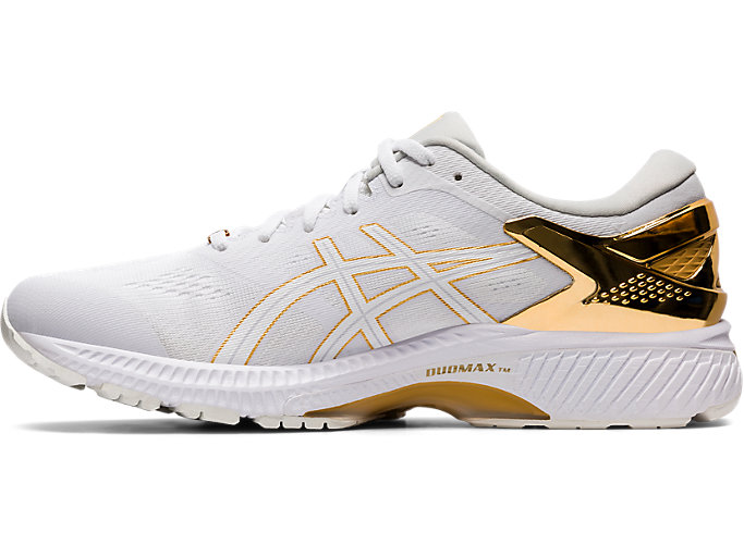 Left side view of GEL-KAYANO™ 26 PLATINUM, WHITE/PURE GOLD