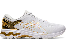 Right side view of GEL-KAYANO 26 PLATINUM, WHITE/PURE GOLD