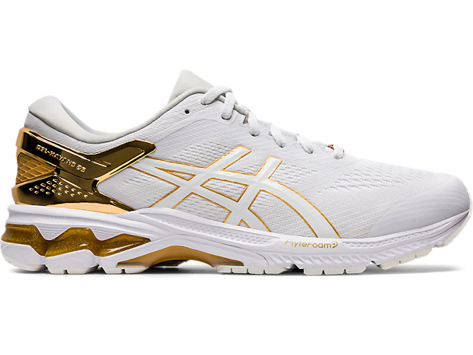 Right side view of GEL-KAYANO™ 26 PLATINUM, WHITE/PURE GOLD