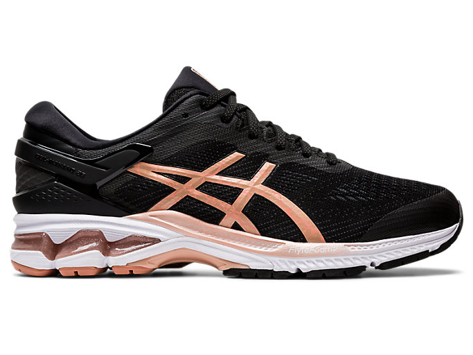 Right side view of GEL-KAYANO 26, BLACK/ROSE GOLD