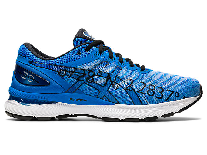 Right side view of GEL-NIMBUS 22, ELECTRIC BLUE/ELECTRIC BLUE