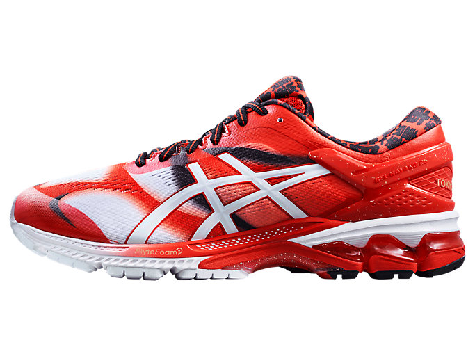 Left side view of GEL-KAYANO 26 TOKYO, CLASSIC RED/WHITE