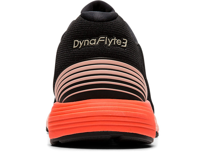 Back view of DYNAFLYTE 3, BLACK/FLASH CORAL