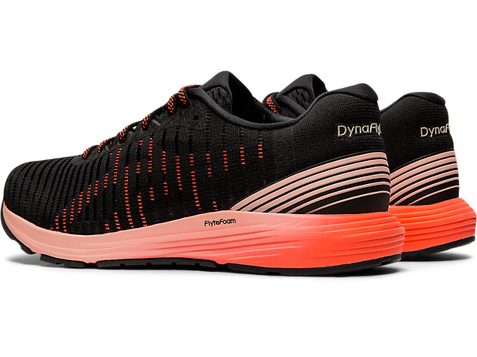 Front Left view of DYNAFLYTE 3, BLACK/FLASH CORAL