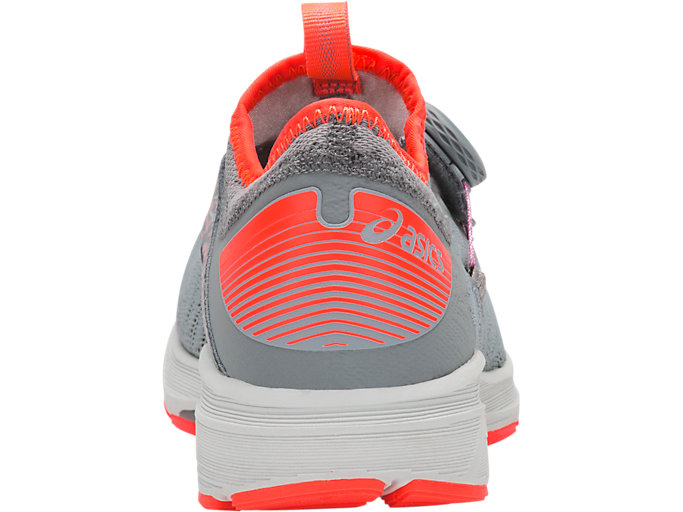 Back view of Dynamis 2, STONE GREY/FLASH CORAL