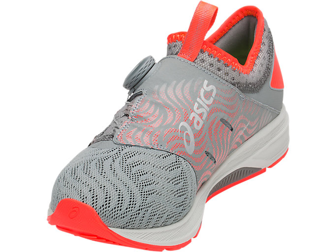 Front Left view of Dynamis 2, STONE GREY/FLASH CORAL
