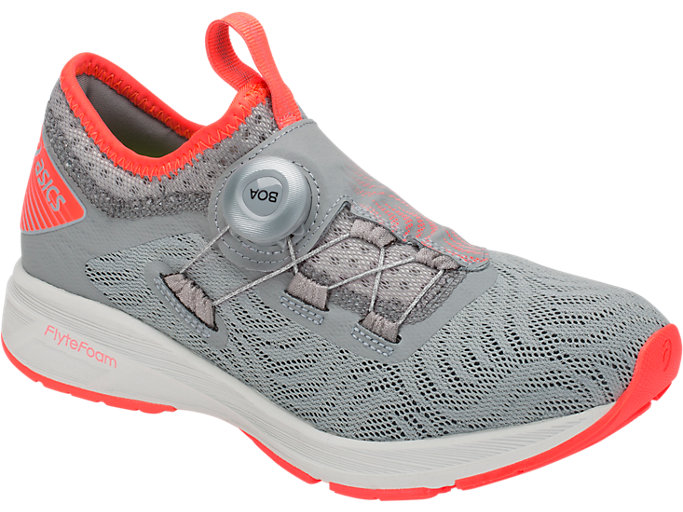 Front Right view of Dynamis 2, STONE GREY/FLASH CORAL