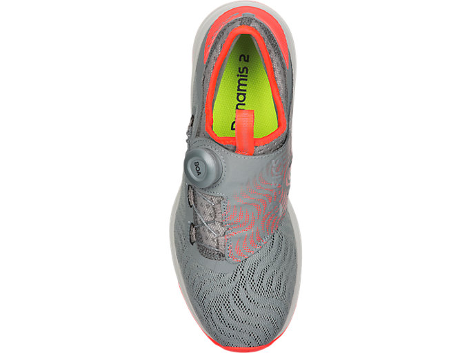 Top view of Dynamis 2, STONE GREY/FLASH CORAL