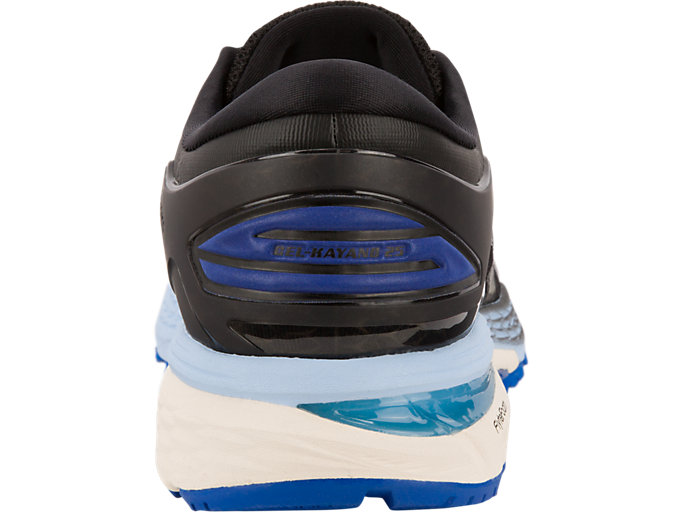 Back view of GEL-KAYANO 25, BLACK/ASICS BLUE