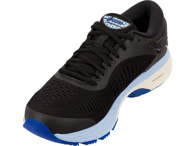 Front Left view of GEL-KAYANO 25, BLACK/ASICS BLUE