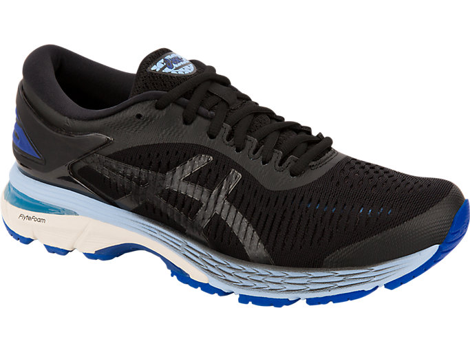 Front Right view of GEL-KAYANO 25, BLACK/ASICS BLUE