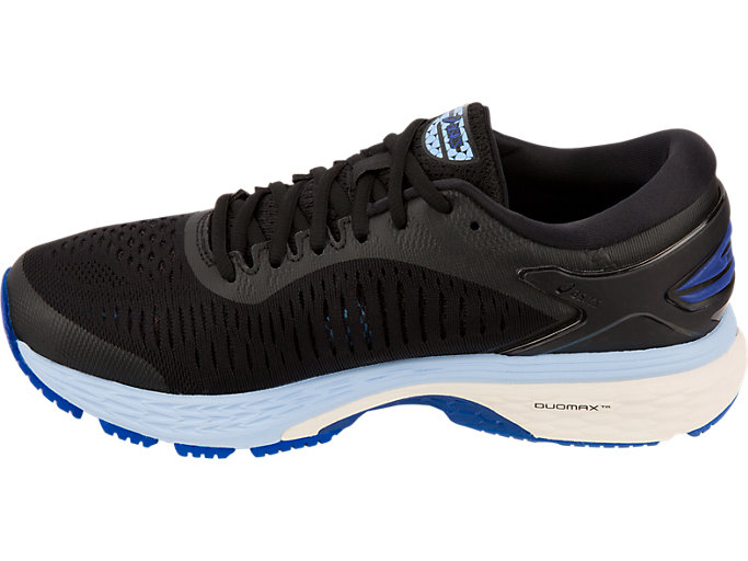 Left side view of GEL-KAYANO 25, BLACK/ASICS BLUE