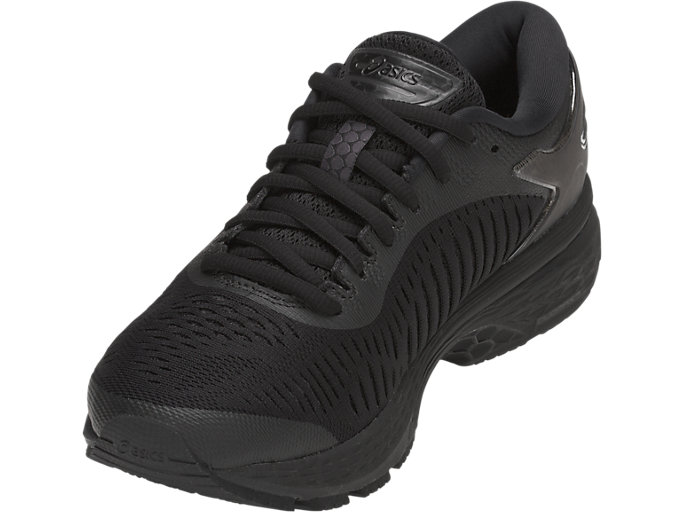 Front Left view of GEL-KAYANO 25, BLACK/BLACK