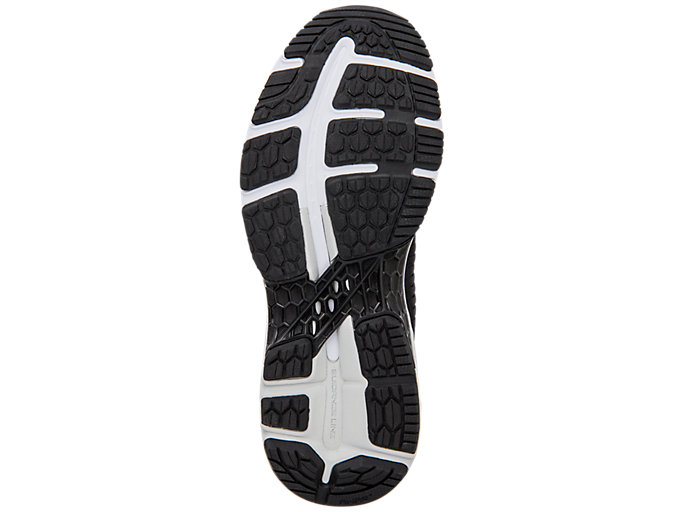 Bottom view of GEL-KAYANO 25, BLACK/GLACIER GREY