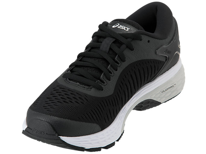 Front Left view of GEL-KAYANO 25, BLACK/GLACIER GREY