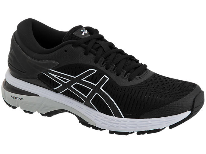 Front Right view of GEL-KAYANO 25, BLACK/GLACIER GREY